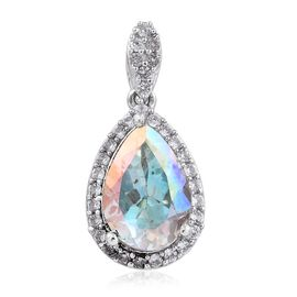 Mercury Mystic Topaz (Pear 3.70 Ct), Natural Cambodian Zircon Pendant in Platinum Overlay Sterling Silver 4.000 Ct.