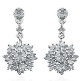 Designer Inspired Diamond (Rnd) Floral Earrings (with Push Back) in Platinum Overlay Sterling Silver 0.500 Ct.