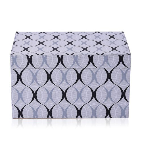 Grey and Black Colour Abstract Pattern Foldable Storage Box (Size 25x16x14.5 Cm)