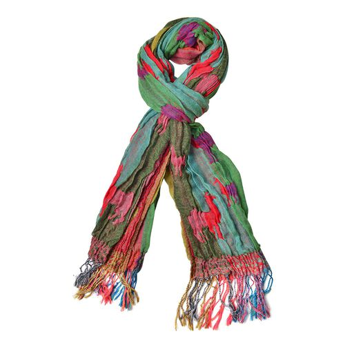 Red, Green and Multi Colour Camel Pattern Scarf with Tassels (Size 170X30 Cm)