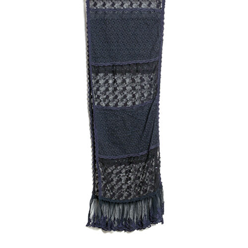 New For Season - 100% Micro - Cotton Slub Lace Trim Black Colour Scarf (Size 200x40 Cm)