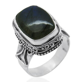 Royal Bali Collection Labradorite (Cush) Ring in Sterling Silver 11.870 Ct.