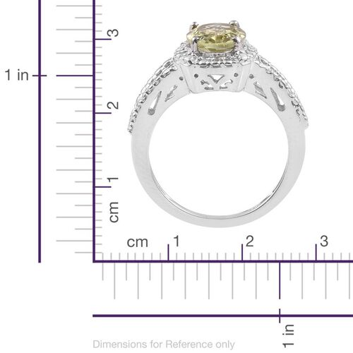Natural Canary Apatite (Ovl) Solitaire Ring in Platinum Overlay Sterling Silver 2.000 Ct.