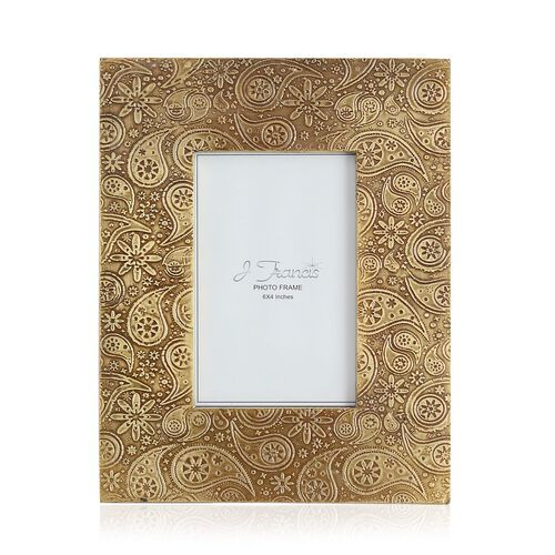 J Francis - Hand Crafted Embossed Paisley Pattern Wooden Photo Frame (Size 6x4 Inch)