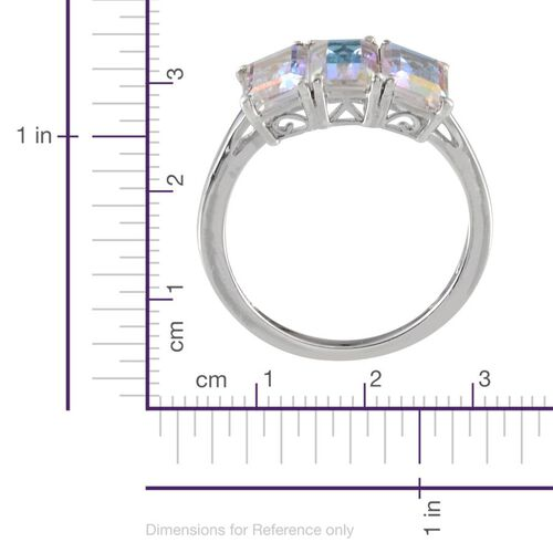 Mercury Mystic Topaz (Oct) Trilogy Ring in Platinum Overlay Sterling Silver 3.250 Ct.