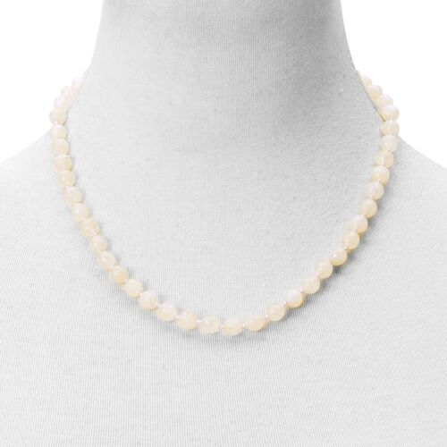 Rainbow Moonstone Beaded Necklace (Size 20) in Rhodium Plated Sterling Silver 140.000 Ct.