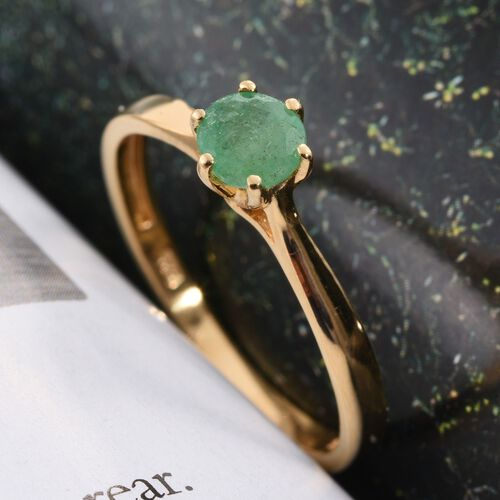 Zambian Emerald 0.50 Carat Silver Solitaire Ring in Gold Overlay