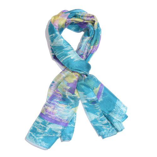 100% Mulberry Silk Blue, Purple and Multi Colour Handscreen Abstract Printed Scarf (Size 175X100 Cm)
