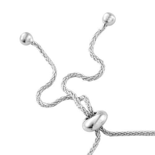 9K White Gold 5 Carat AA Kanchanaburi Blue Sapphire (Ovl) Adjustable Bracelet (Size 6.5 to 9.5)