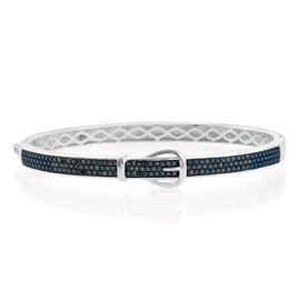 Blue Diamond (Rnd) Buckle Bangle (Size 7.5) in Platinum Overlay Sterling Silver 1.000 Ct. No Of Diamonds Set 100 Pcs.