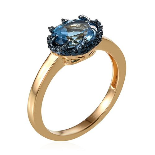 Electric Swiss Blue Topaz (Ovl 2.75 Ct), Diamond Ring in 14K Gold Overlay Sterling Silver 2.770 Ct.