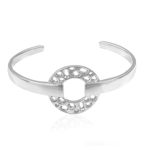 RACHEL GALLEY Rhodium Plated Sterling Silver Lattice Circle Bangle (Size 8), Silver wt. 43.71 Gms.