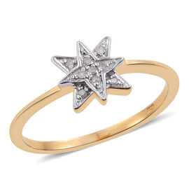 Diamond Star Stacking Ring in 14K Gold Overlay Sterling Silver, Silver Wt 2.12 Gms