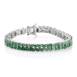 Limited Edition- AAA Kagem Zambian Emerald (Mrq) Bracelet (Size 7.5) in Platinum Overlay Sterling Silver 13.000 Ct.