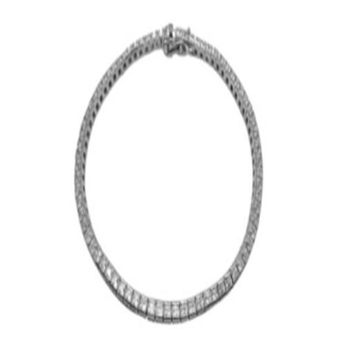 ELANZA AAA Simulated Diamond (Sqr) Bracelet (Size 8) in Rhodium Plated Sterling Silver