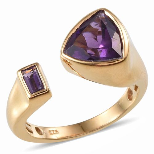 Amethyst (Trl 2.00 Ct) Ring in 14K Gold Overlay Sterling Silver 2.250 Ct.