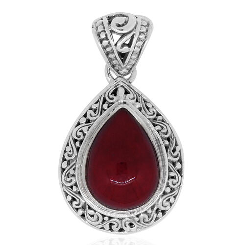 Royal Bali Collection Sponge Coral (Pear) Pendant in Sterling Silver 12.000 Ct.