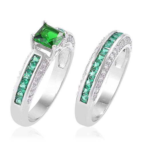 AAA Simulated Diopside, Simulated Emerald and Simulated White Diamond 2 Ring Set in Silver Tone