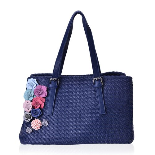 LIMITED COLLECTION Multi Colour 3D Floral and Woven Pattern Navy Colour Tote Bag (Size 39x23x22 Cm)