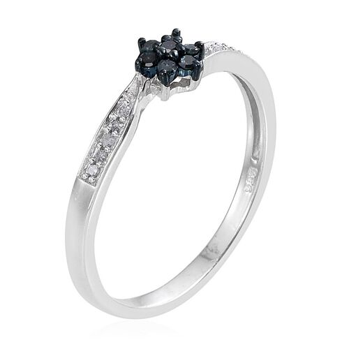 Blue Diamond (Rnd), White Diamond Floral Ring in Platinum Overlay Sterling Silver 0.200 Ct.