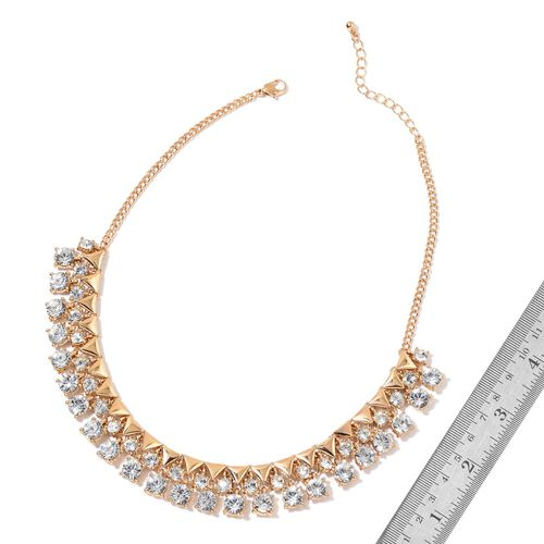 AAA White Austrian Crystal BIB Necklace (Size 18 with 2 inch Extender) in Yellow Gold Tone