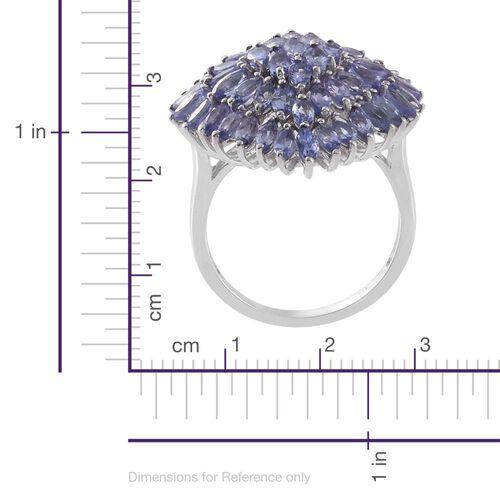 9K White Gold 4 Carat AA Tanzanite Cluster Ring