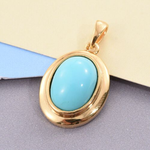 Arizona Sleeping Beauty Turquoise (Ovl) Solitaire Pendant in 14K Gold Overlay Sterling Silver 5.000 Ct.