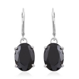 Boi Ploi Black Spinel (Ovl) Earrings in Rhodium Plated Sterling Silver 10.000 Ct.