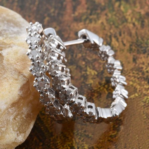 Diamond (Rnd) Hoop Earrings (with Clasp) in Platinum Overlay Sterling Silver 0.500 Ct.