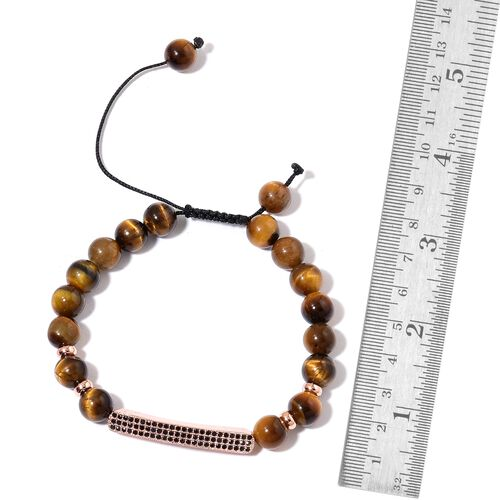 Tigers Eye Beads and White Austrian Crystal Adjustable Bracelet (Size 6 to 9) in Rose Gold Tone 84.500 Ct.