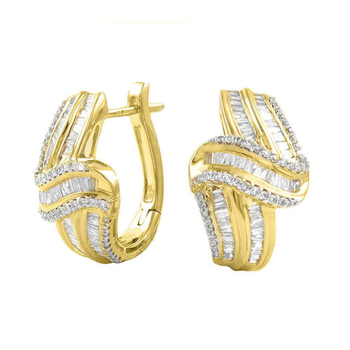 9K Y Gold AGL Certified Diamond (Bgt) (SI/G-H) Earrings (with Clasp) 1.000 Ct. Gold Wt 7.40 Gms