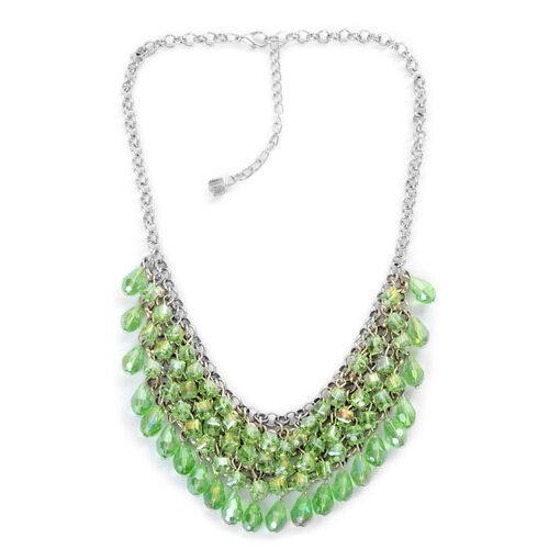 Green Glass Necklace (Size 18) in Silver Tone
