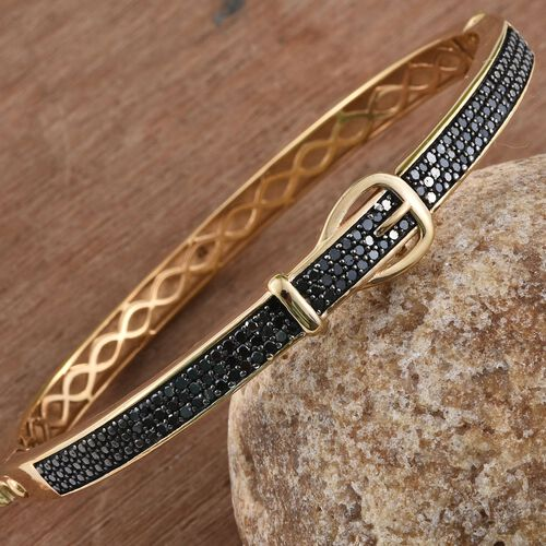 Black Diamond (Rnd) Buckle Bangle (Size 7.5) in 14K Gold Overlay Sterling Silver 1.000 Ct.