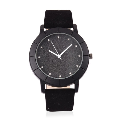 STRADA Japanese Movement Black Strardust Dial Watch with White Austrian Crystal in Black Tone with Stainless Steel Back