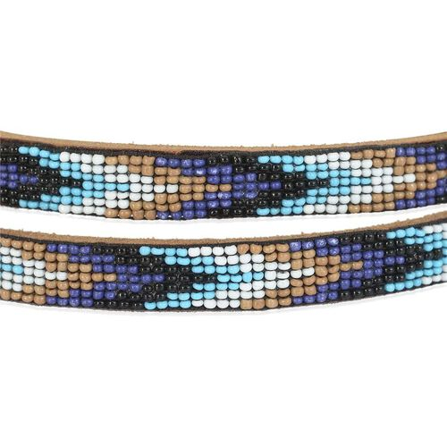 Genuine Leather Handmade White, Black, Blue and Multi Colour Seed Beaded Belt (Sie 110x1.25 Cm)