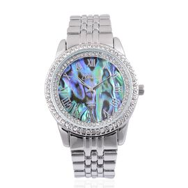 GENOA Japanese Movement Abalone Shell Dial with White Austrian Crystal Water Resistant Watch in Silver Tone with Stainless Steel Back