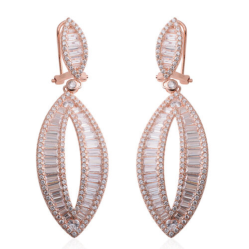 Brilliant Cut ELANZA AAA Simulated Diamond Earrings (with French Clip) in Rose Gold Overlay Sterling Silver.Silver Wt 15.00 Gms Number of Simulated White Diamonds 346