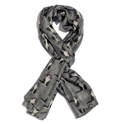 100% Mulberry Silk Grey and Plum Colour Kitten Printed Scarf (Size 180x100 Cm)