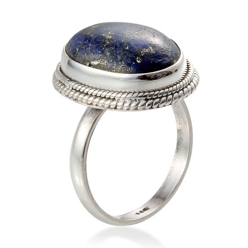 Lapis Lazuli (Ovl) Solitaire Ring in Sterling Silver 10.330 Ct.
