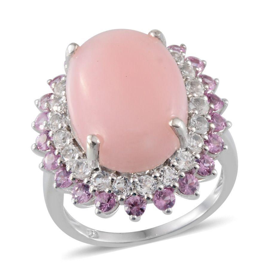 Peruvian Pink Opal (Ovl 10.25 Ct), White Topaz and Pink Sapphire ...