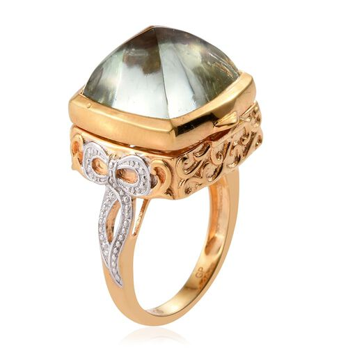 GP Green Amethyst (Cush), Kanchanaburi Blue Sapphire Ring in 14K Gold Overlay Sterling Silver 13.500 Ct.