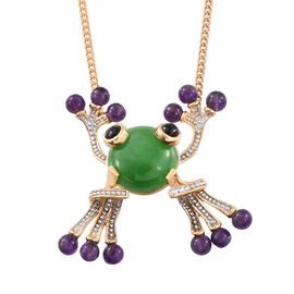 GP Green Jade (Rnd 11.00 Ct), Amethyst, Boi Ploi Black Spinel and Kanchanaburi Blue Sapphire Frog Pendant With Chain in 14K Gold Overlay Sterling Silver 18.750 Ct.
