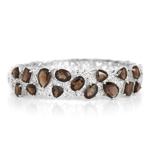 Brazilian Smoky Quartz (Pear) Bangle (Size 7) in Platinum Overlay Sterling Silver 13.750 Ct.