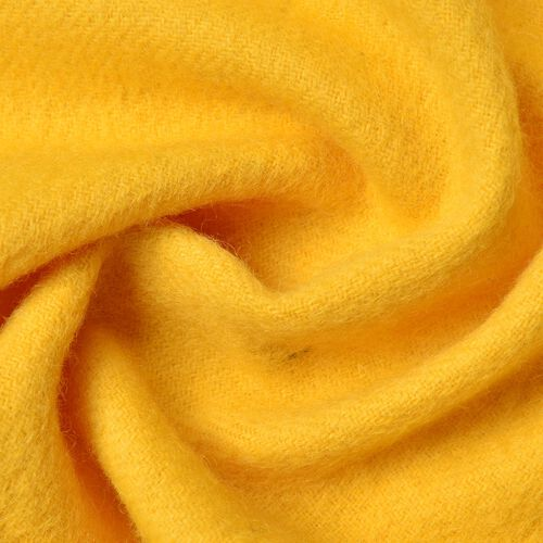 100% Wool Yellow Colour Scarf with Tassels (Size 180X30 Cm)