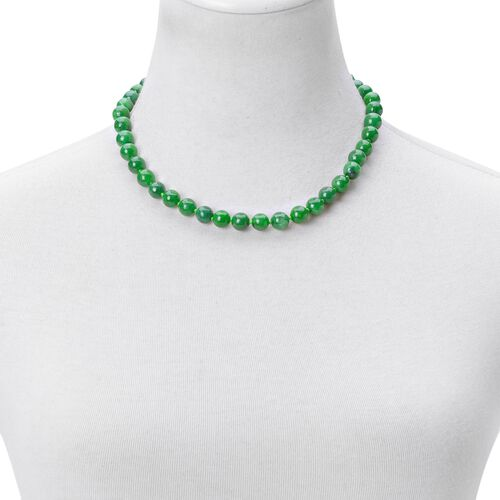 Rare Green Jade Beads Necklace (Size 18) with Magnetic Clasp in Rhodium Plated Sterling Silver 315.00 Ct.