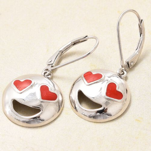 Smiling Face with Red Heart-Eyes Smiley Silver Lever Back Earrings in Platinum Overlay
