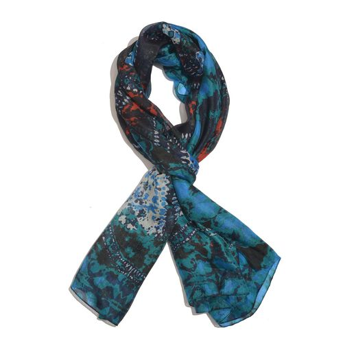 100% Mulberry Silk Blue, Black and Multi Colour Handscreen Printed Scarf (Size 200X170 Cm)