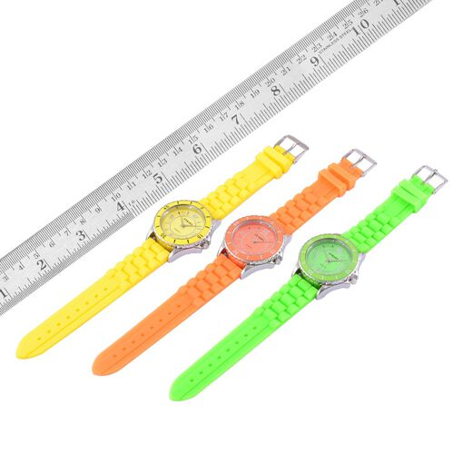 Designer Inspired - Special Edition Set of 3 - STRADA Japanese Movement Yellow, Orange and Green Colour Dial Water Resistant Watch with Silicone Strap