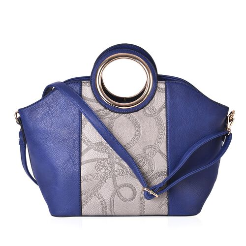 Blue and Silver Colour Tote Bag with External Zipper Pocket and Adjustable and Removable Shoulder Strap (43x30x23x15 Cm)