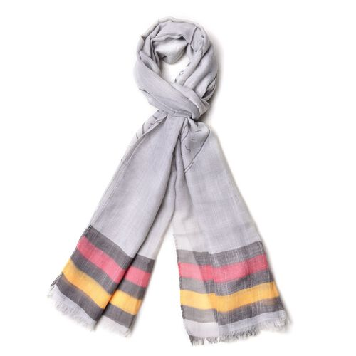 Black, Yellow and Red Colour Stripe and Coin Pattern Silver Colour Scarf (Size 180x70 Cm)